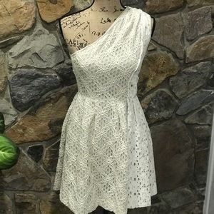 RACHEL Rachel Roy two-tone lace cream dress sz 2